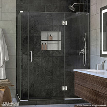 DreamLine  E3270634R-01 Unidoor-X 57 in. W x 34.375 in. D x 72 in. H Hinged Shower Enclosure in Chrome Finish; Right-wall Bracket
