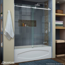 DreamLine  SHDR-64606210-07 Enigma Air 56 to 60 in. Frameless Sliding Tub Door in Brushed Stainless Steel