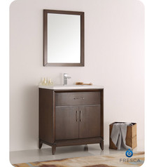 "Fresca  FVN2130AC Cambridge 30"" Antique Coffee Traditional Bathroom Vanity w/ Mirror"