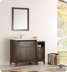"Fresca  FVN21-3012AC Cambridge 42"" Antique Coffee Traditional Bathroom Vanity w/ Mirror"