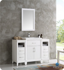 "Fresca  FVN21-122412WH Cambridge 48"" White Traditional Bathroom Vanity w/ Mirror"