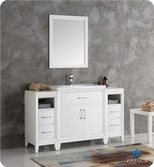 "Fresca  FVN21-123012WH Cambridge 54"" White Traditional Bathroom Vanity w/ Mirror"