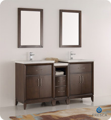 "Fresca  FVN21-241224AC Cambridge 60"" Antique Coffee Double Sink Traditional Bathroom Vanity w/ Mirrors"