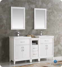 "Fresca  FVN21-241224WH Cambridge 60"" White Double Sink Traditional Bathroom Vanity w/ Mirrors"