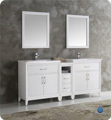 "Fresca  FVN21-301230WH Cambridge 72"" White Double Sink Traditional Bathroom Vanity w/ Mirrors"
