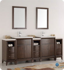 "Fresca  FVN21-84AC Cambridge 84"" Antique Coffee Double Sink Traditional Bathroom Vanity w/ Mirrors"