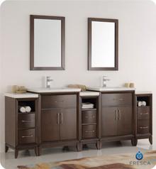 "Fresca  FVN21-84AC Cambridge 84"" Antique Coffee Double Sink Traditional Bathroom Vanity w/ Mirrors"