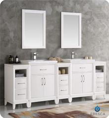 "Fresca  FVN21-84WH Cambridge 84"" White Double Sink Traditional Bathroom Vanity w/ Mirrors"