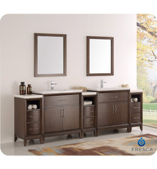 "Fresca  FVN21-96AC Cambridge 96"" Antique Coffee Double Sink Traditional Bathroom Vanity w/ Mirrors"
