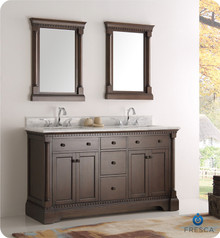 "Fresca  FVN2260AC Kingston 60"" Antique Coffee Double Sink Traditional Bathroom Vanity w/ Mirrors"