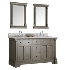 "Fresca  FVN2260SA Kingston 60"" Antique Silver Double Sink Traditional Bathroom Vanity w/ Mirrors"