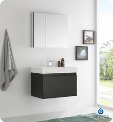 "Fresca  FVN8007BW Mezzo 30"" Black Wall Hung Modern Bathroom Vanity w/ Medicine Cabinet"