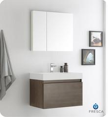 "Fresca  FVN8007GO Mezzo 30"" Gray Oak Wall Hung Modern Bathroom Vanity w/ Medicine Cabinet"