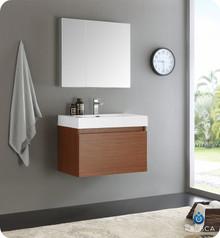 "Fresca  FVN8007TK Mezzo 30"" Teak Wall Hung Modern Bathroom Vanity w/ Medicine Cabinet"