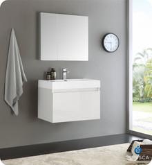 "Fresca  FVN8007WH Mezzo 30"" White Wall Hung Modern Bathroom Vanity w/ Medicine Cabinet"