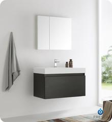 "Fresca  FVN8008BW Mezzo 36"" Black Wall Hung Modern Bathroom Vanity w/ Medicine Cabinet"