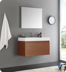 "Fresca  FVN8008TK Mezzo 36"" Teak Wall Hung Modern Bathroom Vanity w/ Medicine Cabinet"