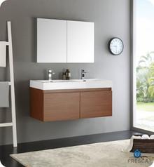 "Fresca  FVN8012TK Mezzo 48"" Teak Wall Hung Double Sink Modern Bathroom Vanity w/ Medicine Cabinet"