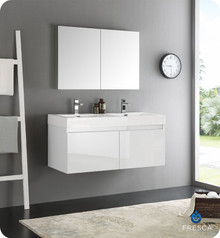 "Fresca  FVN8012WH Mezzo 48"" White Wall Hung Double Sink Modern Bathroom Vanity w/ Medicine Cabinet"