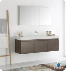 "Fresca  FVN8041GO Mezzo 60"" Gray Oak Wall Hung Single Sink Modern Bathroom Vanity w/ Medicine Cabinet"