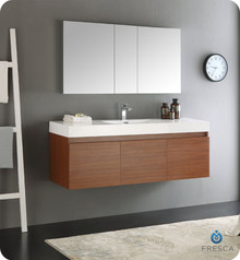 "Fresca  FVN8041TK Mezzo 60"" Teak Wall Hung Single Sink Modern Bathroom Vanity w/ Medicine Cabinet"