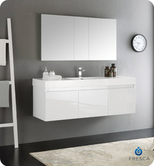 "Fresca  FVN8041WH Mezzo 60"" White Wall Hung Single Sink Modern Bathroom Vanity w/ Medicine Cabinet"