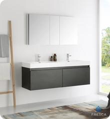 "Fresca  FVN8042BW Mezzo 60"" Black Wall Hung Double Sink Modern Bathroom Vanity w/ Medicine Cabinet"