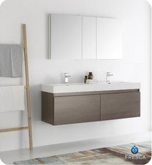 "Fresca  FVN8042GO Mezzo 60"" Gray Oak Wall Hung Double Sink Modern Bathroom Vanity w/ Medicine Cabinet"