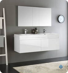 "Fresca  FVN8042WH Mezzo 60"" White Wall Hung Double Sink Modern Bathroom Vanity w/ Medicine Cabinet"