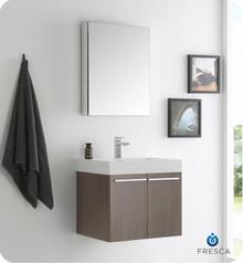 "Fresca  FVN8058GO Alto 23"" Gray Oak Wall Hung Modern Bathroom Vanity w/ Medicine Cabinet"