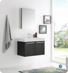 """Fresca  FVN8089BW Vista 30"""" Black Wall Hung Modern Bathroom Vanity w/ Medicine Cabinet"""