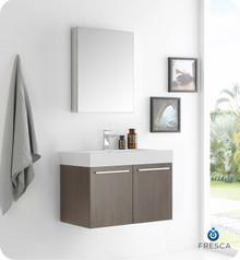 "Fresca  FVN8089GO Vista 30"" Gray Oak Wall Hung Modern Bathroom Vanity w/ Medicine Cabinet"