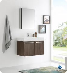"""Fresca  FVN8089GW Vista 30"""" Walnut Wall Hung Modern Bathroom Vanity w/ Medicine Cabinet"""