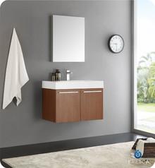 "Fresca  FVN8089TK Vista 30"" Teak Wall Hung Modern Bathroom Vanity w/ Medicine Cabinet"