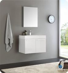 "Fresca  FVN8089WH Vista 30"" White Wall Hung Modern Bathroom Vanity w/ Medicine Cabinet"