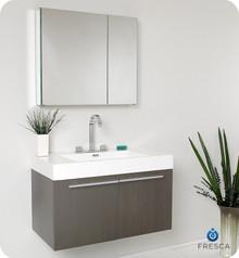 "Fresca  FVN8090GO Vista 36"" Gray Oak Modern Bathroom Vanity w/ Medicine Cabinet"