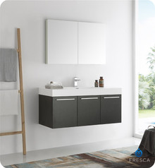 """Fresca  FVN8092BW Vista 48"""" Black Wall Hung Modern Bathroom Vanity w/ Medicine Cabinet"""