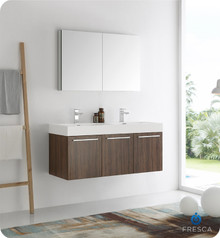 "Fresca  FVN8092GW-D Vista 48"" Walnut Wall Hung Double Sink Modern Bathroom Vanity w/ Medicine Cabinet"