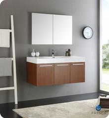 "Fresca  FVN8092TK Vista 48"" Teak Wall Hung Modern Bathroom Vanity w/ Medicine Cabinet"
