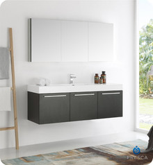 "Fresca  FVN8093BW Vista 60"" Black Wall Hung Single Sink Modern Bathroom Vanity w/ Medicine Cabinet"