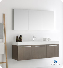 "Fresca  FVN8093GO Vista 60"" Gray Oak Wall Hung Single Sink Modern Bathroom Vanity w/ Medicine Cabinet"