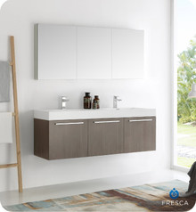 "Fresca  FVN8093GO-D Vista 60"" Gray Oak Wall Hung Double Sink Modern Bathroom Vanity w/ Medicine Cabinet"