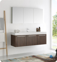 "Fresca  FVN8093GW Vista 60"" Walnut Wall Hung Single Sink Modern Bathroom Vanity w/ Medicine Cabinet"