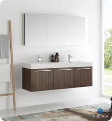 "Fresca  FVN8093GW-D Vista 60"" Walnut Wall Hung Double Sink Modern Bathroom Vanity w/ Medicine Cabinet"