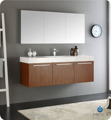 "Fresca  FVN8093TK Vista 60"" Teak Wall Hung Single Sink Modern Bathroom Vanity w/ Medicine Cabinet"