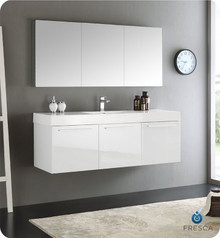 "Fresca  FVN8093WH Vista 60"" White Wall Hung Single Sink Modern Bathroom Vanity w/ Medicine Cabinet"