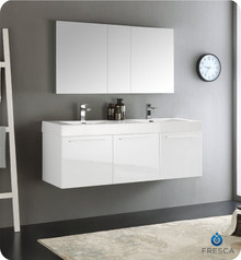 "Fresca  FVN8093WH-D Vista 60"" White Wall Hung Double Sink Modern Bathroom Vanity w/ Medicine Cabinet"