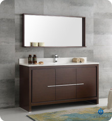 "Fresca  FVN8119WG-S Allier 60"" Wenge Brown Modern Single Sink Bathroom Vanity w/ Mirror"