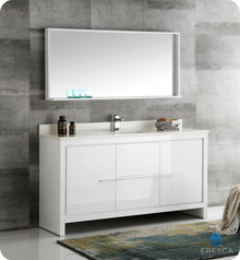 "Fresca  FVN8119WH-S Allier 60"" White Modern Single Sink Bathroom Vanity w/ Mirror"