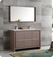"Fresca  FVN8148GO-D Allier 48"" Gray Oak Modern Double Sink Bathroom Vanity w/ Mirror"